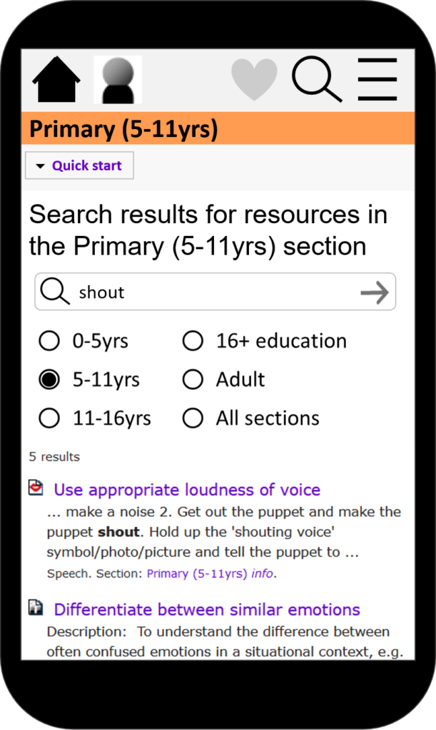 "Search results for ""shout"" in the primary section"